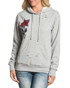 Affliction Red Roses Destroy Holes No Logo Womens Long Sleeve Pull Over Hoodie in Heather Grey Gray - SIZES XS-XL