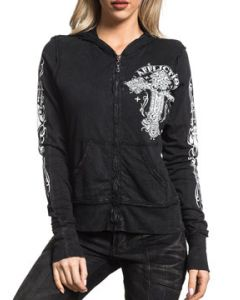 Affliction Versailles White Cross Ornate Filigree Fleur De Lis Medieval Decorative Womens Long Sleeve Zip Front Hoodie in Black - SIZE SMALL