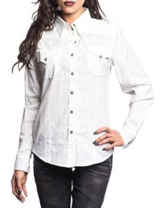 Affliction Warrior Fringe Rhinestones Silver Cross Buttons Womens Long Sleeve Button Up Woven Dress Shirt in White - SIZES S M L