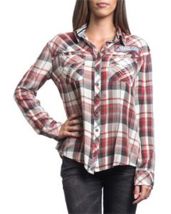 Affliction Sweet Afternoon A Pocket Rhinestones Scissor Back Womens Long Sleeve Button Up Woven Dress Shirt in Red & White Plaid - SIZES S-XL