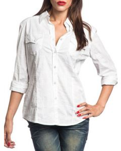 Affliction Cross Games Ornate Cross Cut Out Back Rhinestones Womens Long Sleeve Button Up Woven Dress Shirt in White - SIZES XS-L