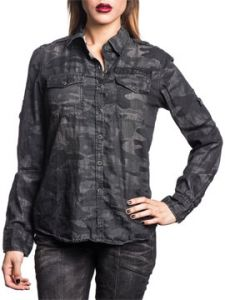 Affliction Live Fast Freedom Black Eagle Military Stars Back Patch Rhinestones Womens Long Sleeve Button Up Woven Dress Shirt in Black Camo - SIZES XS-L