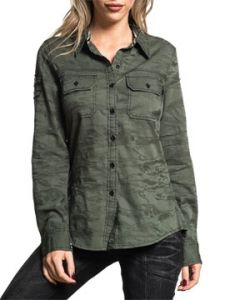 Affliction Time On Target Small Wing Insignia Shoulder Patches Womens Long Sleeve Button Up Woven Dress Shirt in Olive Green Camo - SIZES XS-XL