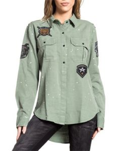 Affliction Iconic Tiger Panther Skeleton Patches Paint Splatter  Womens Long Sleeve Button Up Woven Dress Shirt in Olive Green- SIZES XS-L