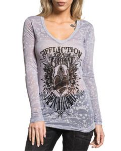 Affliction Aficionado Watson Black Heart Angel Wings All Over Skull Burnout Womens Long Sleeve V-Neck T-Shirt in Silver Grey - SIZES S-XL