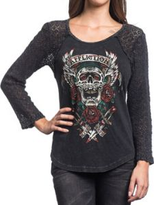 Affliction Screamin Roses Winged Skull Daggers Tattoo Crochet Lace Womens Long Sleeve Scoop Neck Raglan T-Shirt in Black - SIZES XS-L