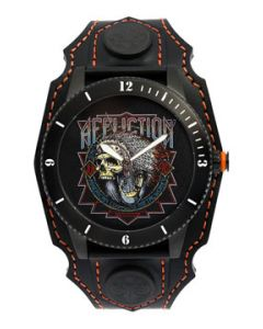 Affliction American Customs Metalworks Indian Chief Skull Headdress Motorcycle Wheel Biker Genuine Leather Band Cuff Mens Watch in Black & Orange