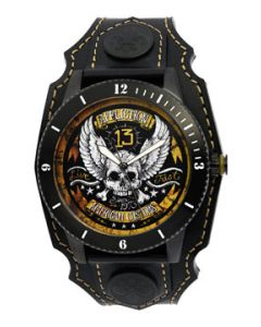 Affliction American Customs Live Fast Winged Skull Crossbones 13 Motorcycle Biker Metal Garage Genuine Leather Band Cuff Mens Watch in Black & Gold