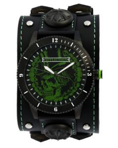 Affliction Top Hat Skeleton Skull Collage Fleur Rivets Motorcycle Biker Metal Garage Extra Wide Genuine Leather Band Cuff Mens Watch in Black & Green