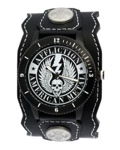 Affliction American Metal Winged Skull Lightning Bolt Stars Motorcycle Biker Garage Genuine Leather Band Cuff Mens Watch in Black & White