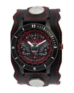 Affliction American Customs Skull Wings Iron Crosses Motorcycle Biker Metal Garage Genuine Leather Band Cuff Mens Watch in Black & Red