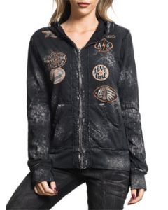Affliction American Customs Outlaw Motors Indian Skull Eagle 13 Patches Womens Long Sleeve Zip Hoodie in Black - REVERSIBLE SIZES XS-L