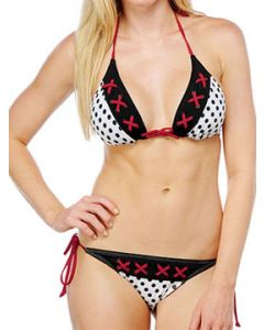 Sinful June Corset Lace Up Womens Red Tie String Bikini Top in White & Black Polka Dots - SIZES XS-L