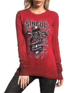 Sinful Always Forever Eloise Ornate Cross Heart Banner Tattoo Filigree Striped Pattern Womens Long Sleeve Thermal Shirt in Red - SIZES S-L