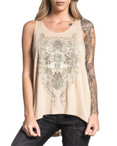 Sinful Crystal Canyon Cross Foral Baroque Filigree Rhinestones Metal Studs Womens Scoop Neck Tunic Tank Top in Tan Sand - SIZES XS-XL