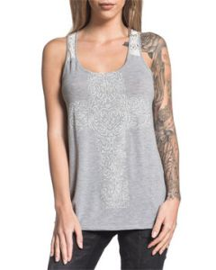Sinful Dusty Wrangler Cross Heart Horseshoe Rhinestones White Lace Trim Decorative Womens Scoop Neck Tank Top in Heather Grey - SIZES XS-L