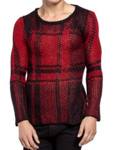 Tripp NYC Punk Rock Goth Metal Mens Long Sleeve Crew Neck Sweater in Red & Black Plaid - SIZES XS-XL