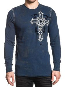 Xtreme Couture Darker Side Celtic Cross Angel Wings Iron Crosses Medieval UFC MMA Mens Long Sleeve Thermal in Navy Blue - SIZES S-XXL