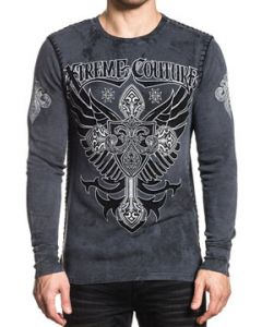 Xtreme Couture Bronze Arms Brocade Cross Angel Wings Medieval Whip Stitching UFC MMA Mens Long Sleeve Thermal in Charcoal Grey - SIZES S-XXL