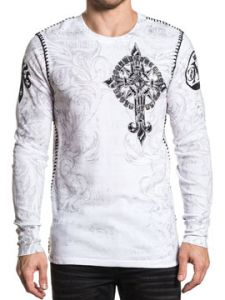Xtreme Couture Hercules Diamond Cross Angel Wings Fleur Scroll Brocade Whip Stitching UFC MMA Mens Long Sleeve Thermal in White - SIZES S-XXL