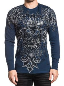 Xtreme Couture Libertarian Medieval Shield Cross Fleur Brocade Scrolls Silver Foil Mens Long Sleeve Thermal in Navy Blue - SIZES S-XXL