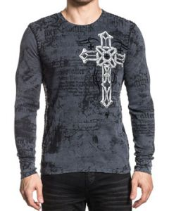 Xtreme Couture Darker Side Celtic Cross Angel Wings Iron Crosses Medieval UFC MMA Mens Long Sleeve Thermal in Charcoal Grey - SIZES S-L