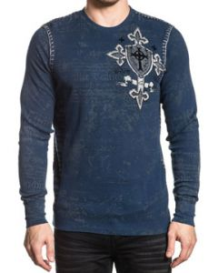 Xtreme Couture Pro Faith Medieval Shield Cross Metal Studs Old World Script Angel Wings Mens Long Sleeve Thermal in Navy Blue - SIZES S-XXL