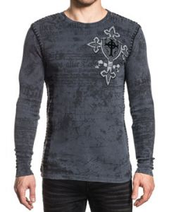Xtreme Couture Pro Faith Medieval Shield Cross Metal Studs Old World Script Angel Wings Mens Long Sleeve Thermal in Charcoal Grey - SIZES S-XXL