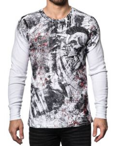 Xtreme Couture Bravado Mohawk Skulls Scrolls Punk Distressed Red Foil UFC MMA Mens Long Sleeve Thermal Shirt in White - SIZES S-3X