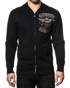 Xtreme Couture Motor Club Faded Iron Skull Angel Wings Stars Biker Mens Long Sleeve Zip Hoodie in Black - SIZES M-XL