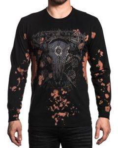 Affliction American Metal Outlaw Country Cow Skull Guns Roses Studs Band Music Concert Tour Mens Long Sleeve Crew T-Shirt in Black Fraser - SIZES S-4X