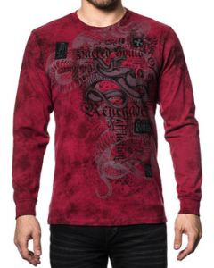 Affliction Renegade Snake Bite Sacred Soul Skeleton Skull Word Collage Black Patch Mens Long Sleeve Crew T-Shirt in Red Crystal Wash - SIZES S-3X