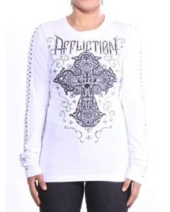 Affliction Eastwood Blossom Decorative Cross Rhinestones Metal Studs Laser Cutout Sleeves Womens Long Sleeve T-Shirt in White - SIZES XS-XXL