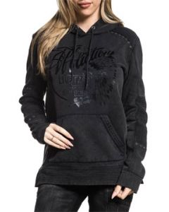 Affliction American Customs Breckenridge Indian Headdress Rhinestones Moto Seams Womens Long Sleeve Pullover Hoodie in Black - SIZES XS-XXL