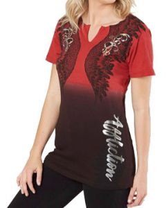Affliction Whispering Angel Wings Script Filigree Cut Out Back Ties Womens Short Sleeve Scallop V-Neck T-Shirt in Red & Black Dip Dye - SIZES XS-XL