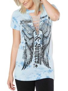 Affliction Renegade Angel City Blackpool Outlaws Saints Sinners Wings Cut Out Womens Short Sleeve T-Shirt in Silver Blue Tie Dye - SIZES XS-XL