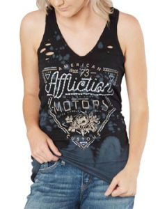 Affliction American Customs Motors Cali Flowers Metal Studs Destroy Holes Womens V-Neck Racerback Tank Top in Black Cleo Tie Dye - SIZES M-XL