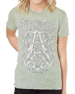 Affliction Causeway Letter A Fleur Filigree Calligraphy Rhinestones Womens Short Sleeve Crew Neck T-Shirt in Pale Green Acid Wash - SIZES XS-XL
