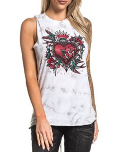 Affliction Black Label Tattoo Calera Heart Roses Sparrows Birds Rhinstones Braid Back Womens Tank Top in White Tie Dye - SIZES XS-XXL