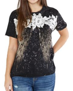 Affliction Age Of Winter Rust Angel Wings Floral Lace Trim Paint Splatter Womens Short Sleeve T-Shirt in Black Bleach - SIZES XS-XL
