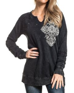 Affliction Precious Metal Cross Fleur Filigree Rhinestones Lace Trim Womens Long Sleeve Scallop V-Neck Fleece Knit Shirt in Black - XS-L