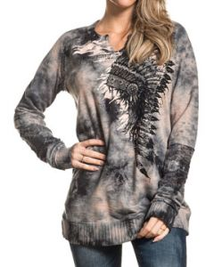 Affliction Indian Headdress Paint Feathers Lace Trim Womens Long Sleeve Scallop V-Neck Fleece Knit Shirt in Charcoal Grey Brown Tie Dye  - XS-L