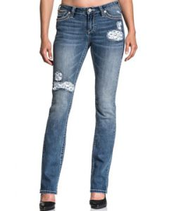 Affliction Jade Aries Cow Skulls Patch Holes Metal Studs Premium Denim Womens Bootcut Jeans in Medium Blue Sienna Wash - SIZES 24-31