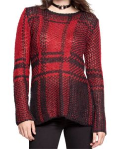 Tripp NYC Punk Rock Goth Metal Womens Long Sleeve Scoop Neck Sweater in Red & Black Plaid - SIZES XS-XL
