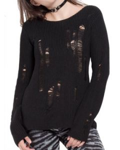 Tripp NYC Punk Rock Goth Metal Shred Destroy Holes Womens Long Sleeve Scoop Neck Sweater in Black - SIZES XS-XXL