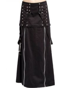 Tripp NYC Goth Punk Super Eyelet Corset Lace Up Zippers Bondage Straps Metal Studs Chains Pockets Womens Long Floor Length Skirt Black - SIZES M-L