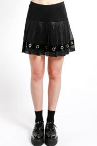 Tripp NYC Goth Punk Rave Silver Metal Grommets Mesh Fishnet Shiny Vinyl PVC Trim Womens Pleated Mini Skirt in Black - SIZES XS-XL
