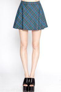 Tripp NYC Goth Punk Rock Rave Metal Womens A-Line Circle Mini Skirt in Blue Plaid - SIZES S M XXL LEFT