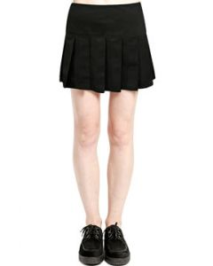 Tripp NYC Goth Punk Rock Rave Metal Womens Pleated Mini Skirt in Solid Black - SIZE XS-XXL