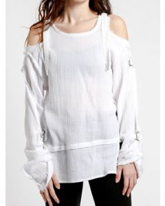 Tripp NYC Punk Rock Adjustable Straps Metal Hooks Womens Long Sleeve Scoop Neck Cold Shoulder Shirt Top in Solid White - SIZES XS-XL